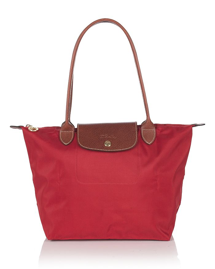 Longchamp Le Pliage Small Nylon Shoulder Tote In Red/gold