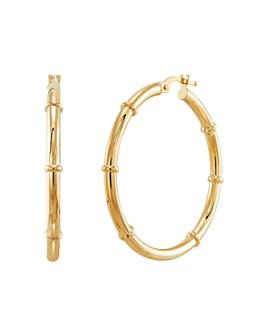 Bloomingdale's - Ringed Hoop Earrings in 14K Yellow Gold - 100% Exclusive