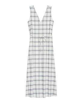 Theory - Spring Plaid Deep V Neck Midi Dress