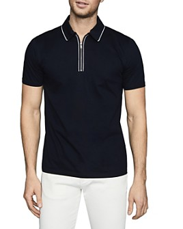REISS - Nathan Mercerized Cotton Piped Slim Fit Polo Shirt