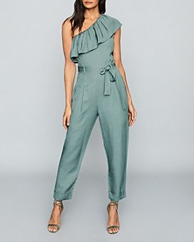 REISS - Madeline Ruffled One Shoulder Jumpsuit