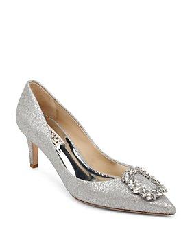 Badgley Mischka - Women's Carrie Crystal-Embellished Kitten Heel Pumps