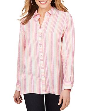 Foxcroft Journey Striped Easy Care Linen Shirt