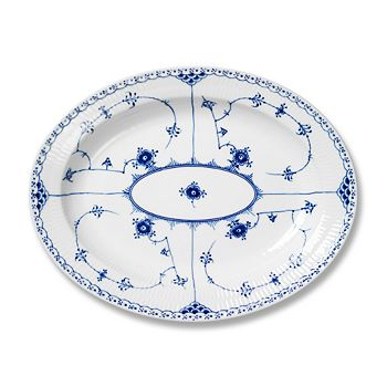 "Royal Copenhagen - ""Blue Fluted Half Lace"" Oval Platter, Large"
