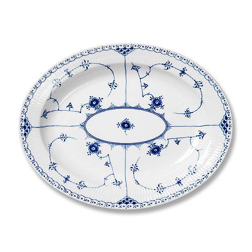 "Royal Copenhagen - ""Blue Fluted Half Lace"" Oval Platter, Large"