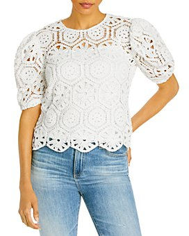 AQUA - Crocheted Puff Sleeve Blouse - 100% Exclusive