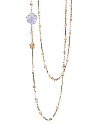 "Pasquale Bruni - 18K Rose Gold Bon Ton Floral Blue Chalcedony & Diamond Necklace, 40"""