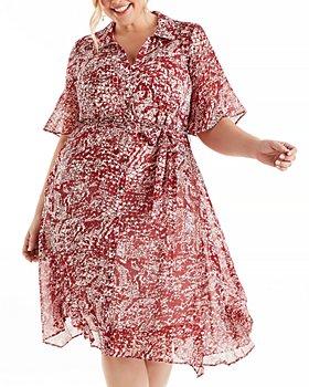 Estelle Plus - Paprika Animal Print Shirt Dress