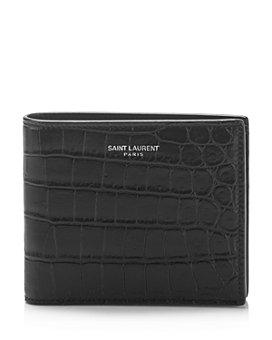 Yves Saint Laurent - Grain de Poudre East West Croc Embossed Leather Wallet
