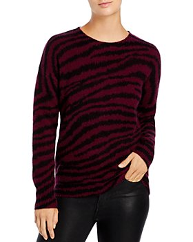 C by Bloomingdale's - Zebra-Stripe Brushed Cashmere Sweater - 100% Exclusive