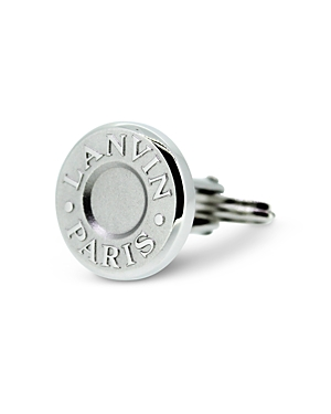 Lanvin Rhodium Plated Round Cufflinks-Men