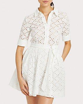 MILLY - Eyelet Cotton Shirt Dress