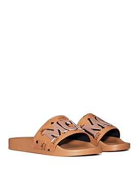 MCM - Women's Visetos Patch Slide Sandals