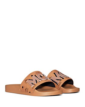 MCM - Women's Visetos Logo Patch Slide Sandals
