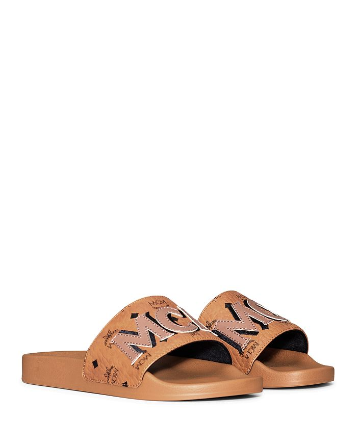MCM - Women's Visetos Patch Slide Sandals