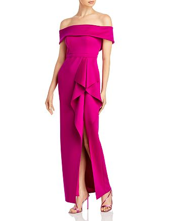 AQUA - Off-the-Shoulder Cascade Gown - 100% Exclusive