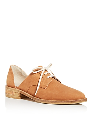Tomboys will rejoice at Freda Salvador\\\'s super chic take on classic oxfords, featuring tumbled leather, stacked wood heels and distinctive d\\\'Orsay styling.