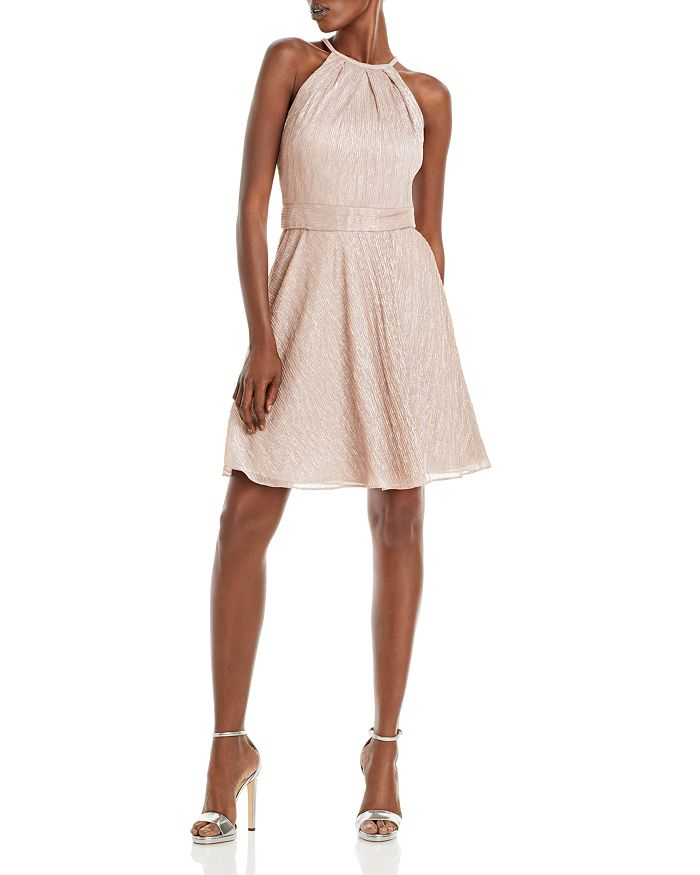 AQUA - Metallic Crinkled Fit & Flare Dress - 100% Exclusive