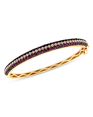 Bloomingdale's Ruby and Diamond Bangle Bracelet in 14K Yellow Gold - 100% Exclusive