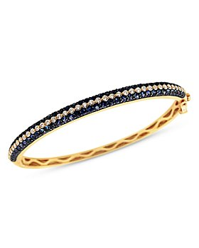 Bloomingdale's - Blue Sapphire and Diamond Bangle Bracelet in 14K Yellow Gold - 100% Exclusive