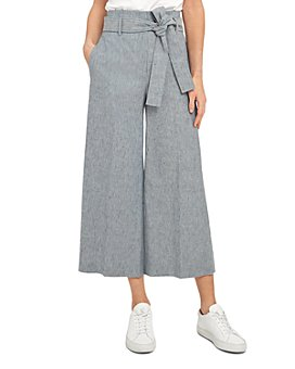 Theory - Belted Linen Blend Wide Leg Pants