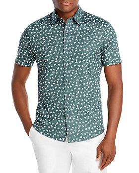 Michael Kors - Cotton Stretch Abstract Floral Print Slim Fit Button Down Shirt