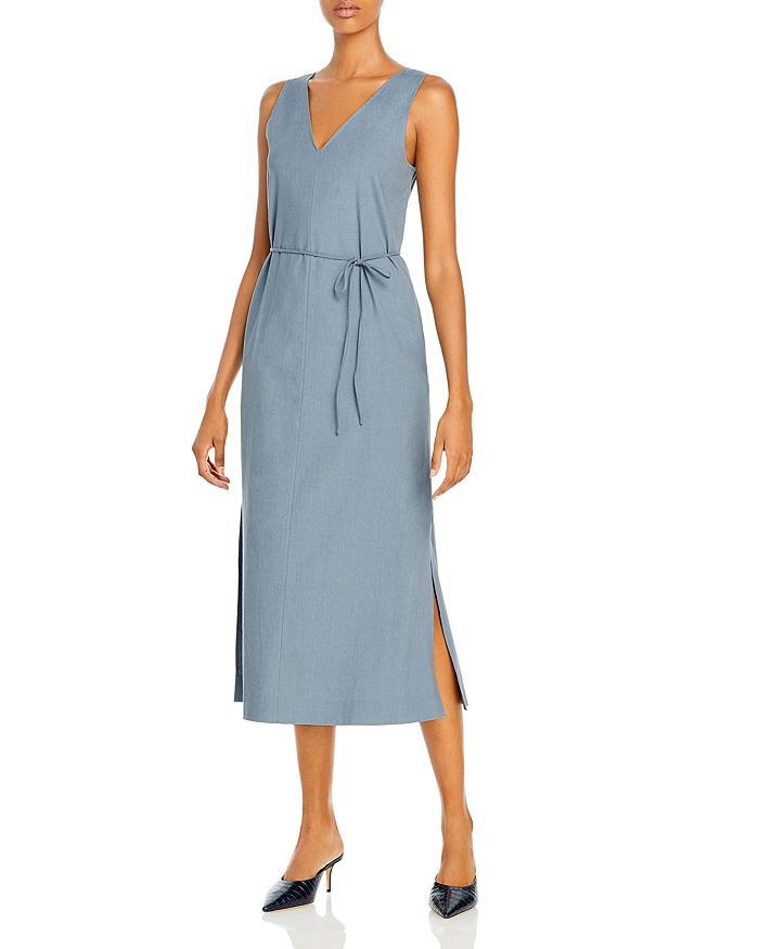 Theory DEEP V NECK TIE WAIST DRESS