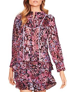 LoveShackFancy - Benicia Floral Ruffled Silk Skirt