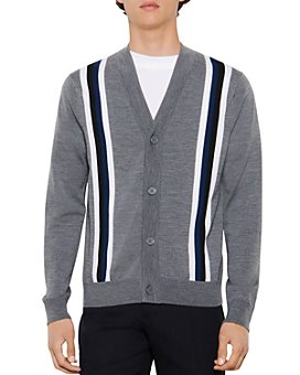 Sandro - College Wool Striped Button Cardigan