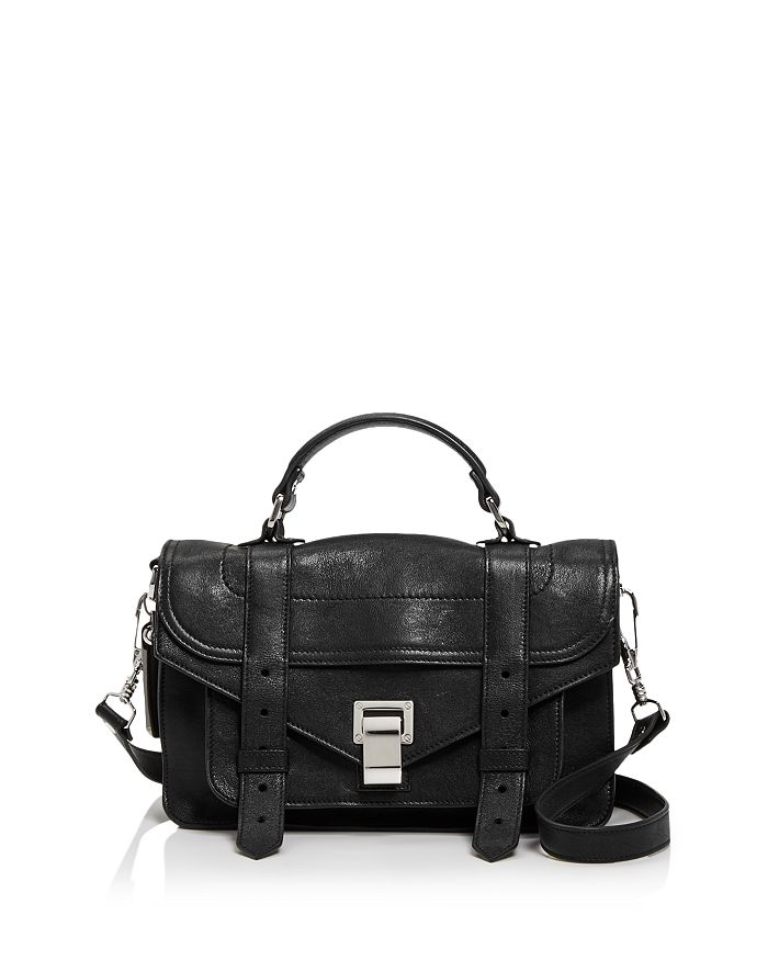 Proenza Schouler Lux Leather Ps1 Tiny Crossbody In Black