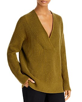 Vince - Overlap V Neck Ribbed Tunic