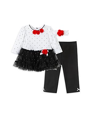 Little Me Girls\\\' Dot Ruffle Tunic, Leggings & Headband Set - Baby-Kids