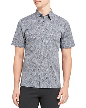 Theory - Irving Cotton-Blend Printed Standard Fit Button Down Shirt