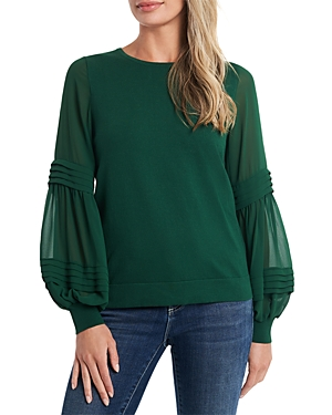 CeCe Puff Sleeve Mix Media Sweater-Women