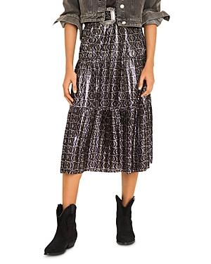 ba & sh Prisca Printed Tiered Midi Skirt-Women