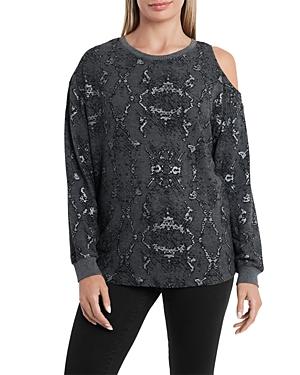 Vince Camuto Printed Cold Shoulder Sweatshirt