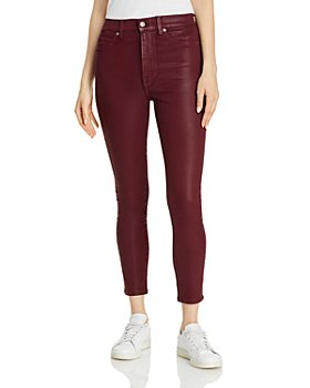 7 For All Mankind - Coated High Waisted Ankle Skinny Jeans