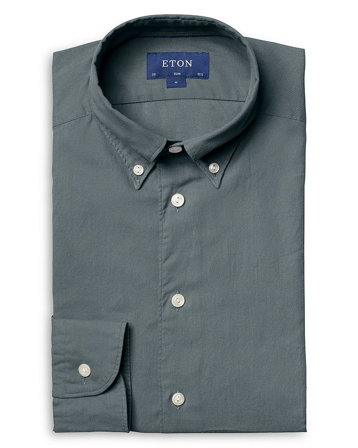 Eton - Slim Fit Green Lightweight Flannel Causal Shirt