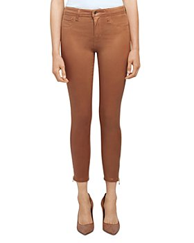 L'AGENCE - Sabine High Rise Skinny Zip Jeans in Java Coated
