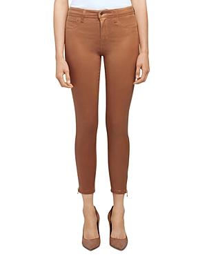 L\\\'Agence Sabine High Rise Skinny Zip Jeans in Java Coated-Women