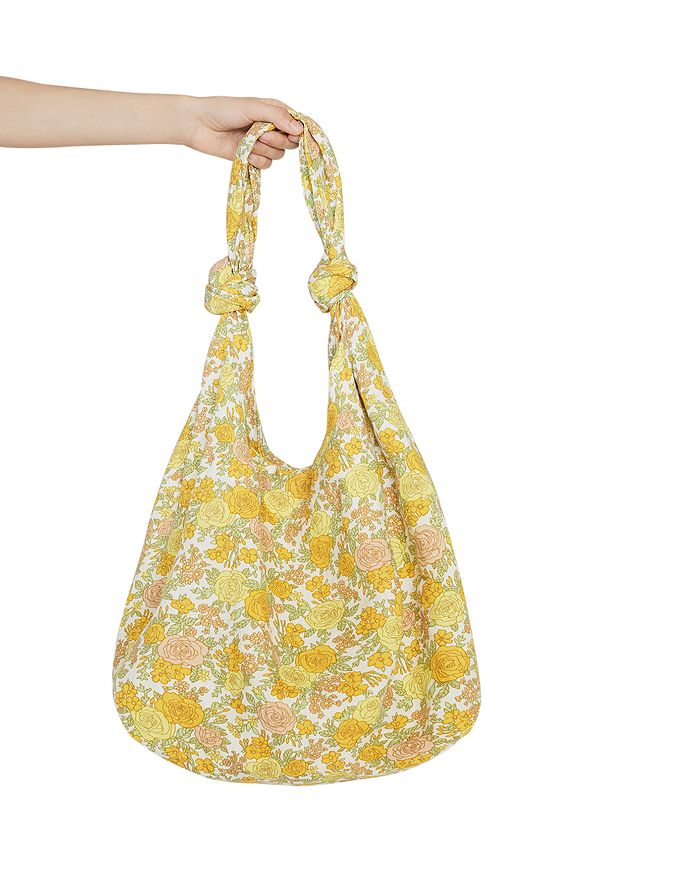 Faithfull The Brand Venez Large Linen Floral Print Tote Bag In Yellow