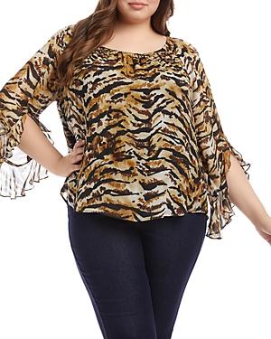 Karen Kane Plus Size Tiger Print Ruffle Sleeve Top