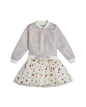 Pippa & Julie - Girls' Quilted Bomber Jacket & Heart Print Dress Set - Little Kid