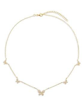 """Adinas Jewels - Pavé Butterfly Choker Necklace, 15""""-17"""""""