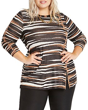 NIC and ZOE Plus - Plus Mighty Zip Printed Sweater