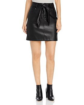 KARL LAGERFELD PARIS - Faux Leather Tie Waist Pencil Skirt