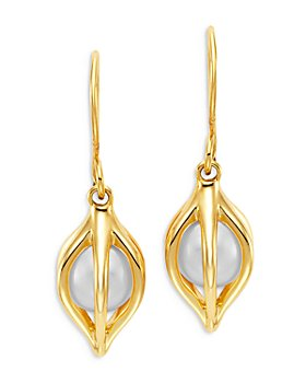 Bloomingdale's - Cultured Freshwater Pearl Tulip Drop Earrings in 14K Yellow Gold - 100% Exclusive