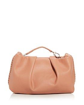 Callista - Grace Top Handle Pleated Leather Clutch