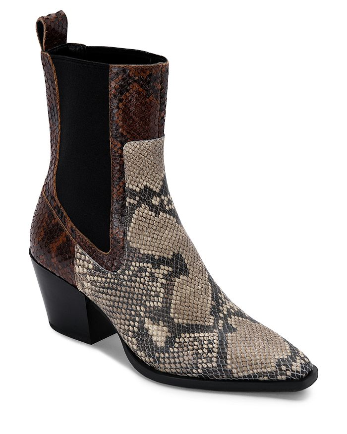 Dolce Vita - Women's Sabern Square Toe Stretch Panel Leather Booties