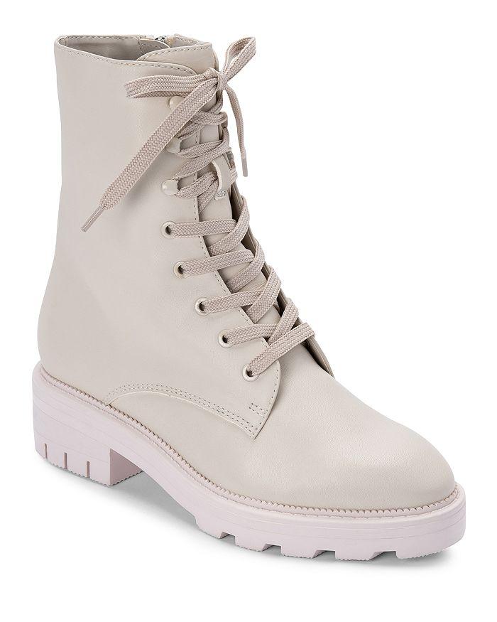 Dolce Vita Women's Lottie Almond Toe Leather Combat Booties In Ivory Eco